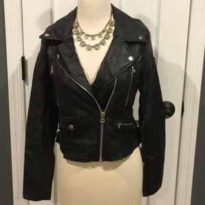 Jackets & Blazers - .Black Vegan Leather Moto Jacket